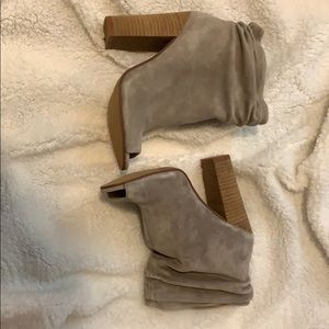 Light taupe suede open toe booties
